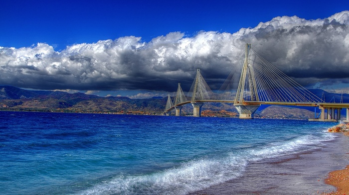 Greece, mountain, city, bridge, sea, cloudy, stunner, sky, beautiful, beach, clouds, nature, bay