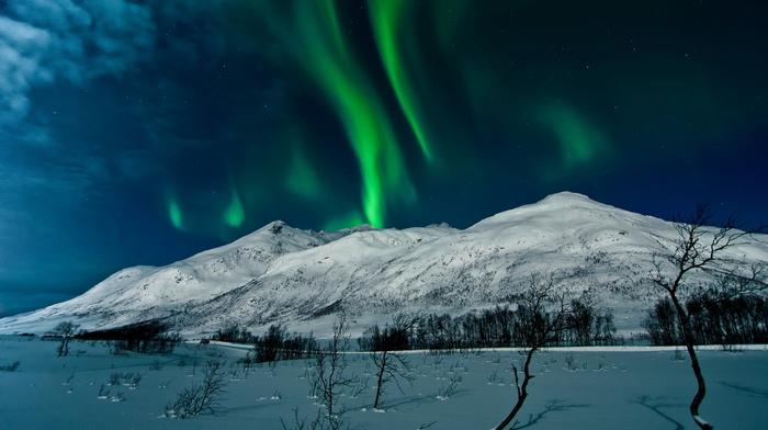 красота, северное сияние, снег, красивые, небо, полярное сияние, горы