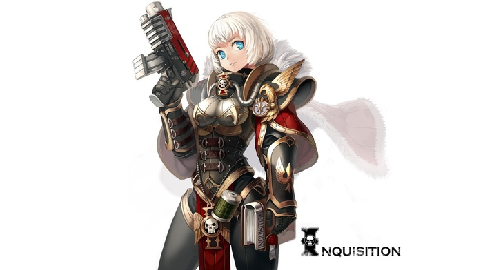 blue eyes, warhammer 40, 000, white hair, Sisters of Battle