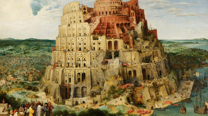 tower, classic art, tower of babel, boat, Pieter Bruegel