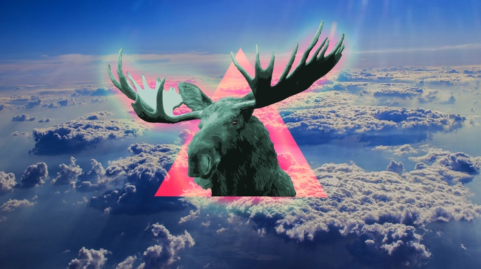 blue, moose, polyscape, sky, triangle, clouds