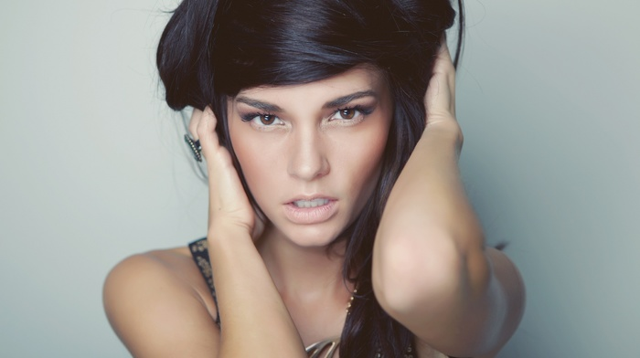 girl, model, face, dark hair, hazel eyes