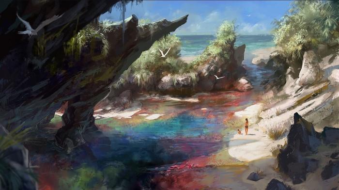 фантастическое исскуство, море, природа, произведение искусства, красочно, пляж