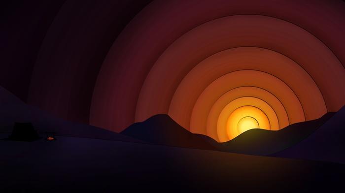 цифровое искусство, закат, горы