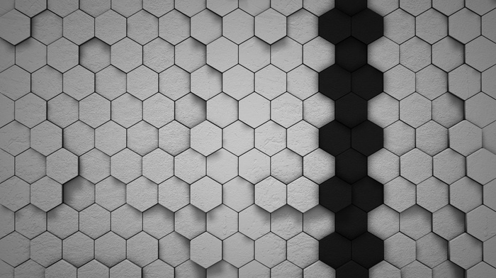 hexagon, lines, simple, white, shadow, artwork, black