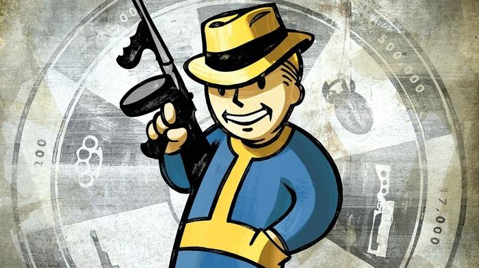 tommy gun, Fallout, video games, Pip, boy