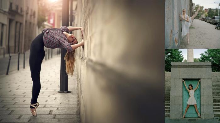 stretching, ballerina, urban