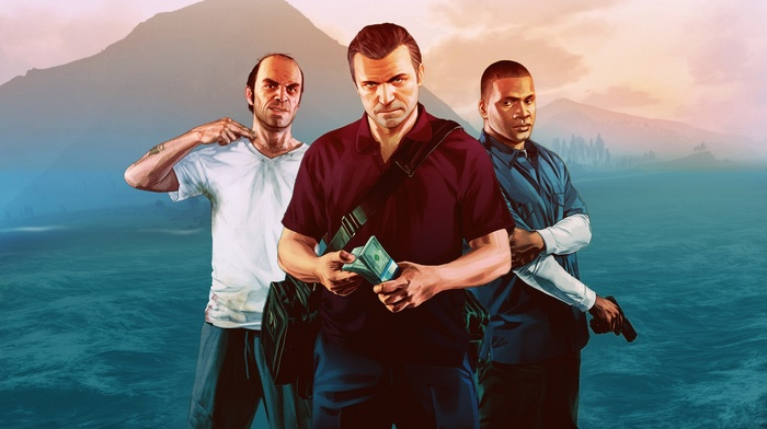 Grand Theft Auto V, Franklin Clinton, Grand Theft Auto, Michael De Santa, video games, Trevor Philips