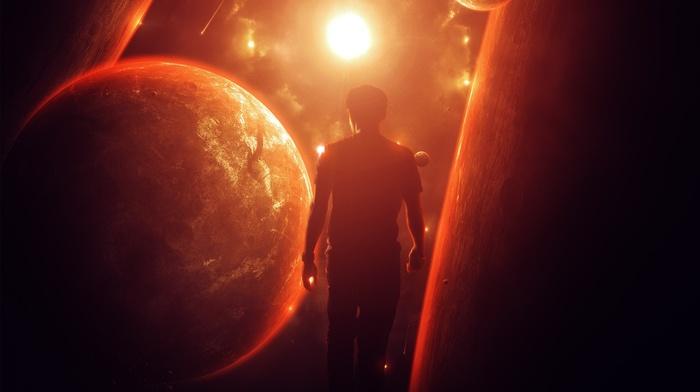 fantasy art, sunlight, planet, galaxy, fire, men, clouds, Sun, lights, universe, space art, red