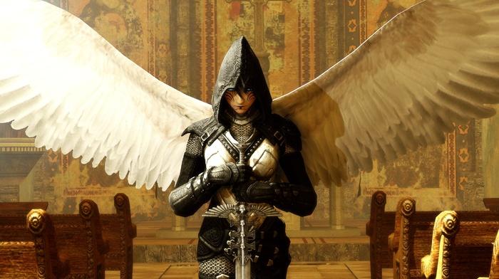 броня, церковь, крылья, меч, фантастическое исскуство