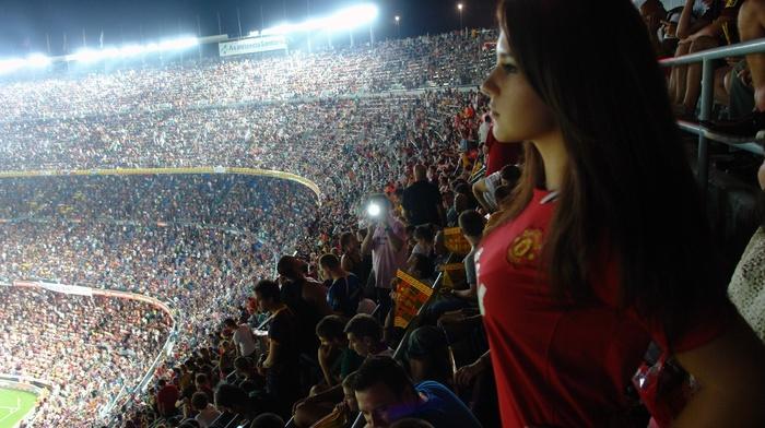 brunette, fans, sports, Camp Nou, stadium, girl, Manchester United, boobs