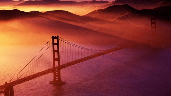 red, Red sun, Tower Bridge, photography, mountain, water, golden gate bridge, hill, sunlight, bridge, horizon, landscape
