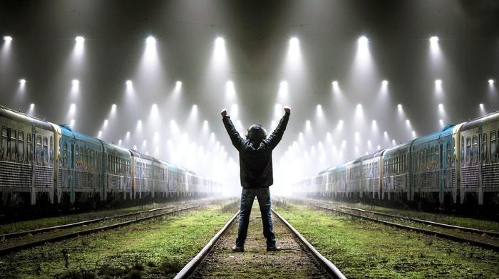 railway, train station, men
