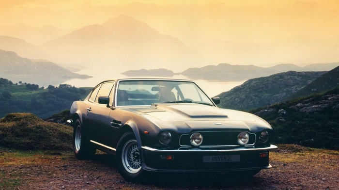 Aston Martin, landscape, mountain, car, old car, off, road, horizon