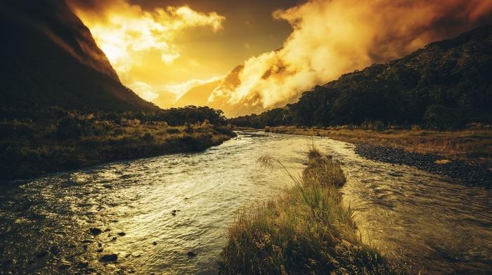 облака, трава, природа, закат, река