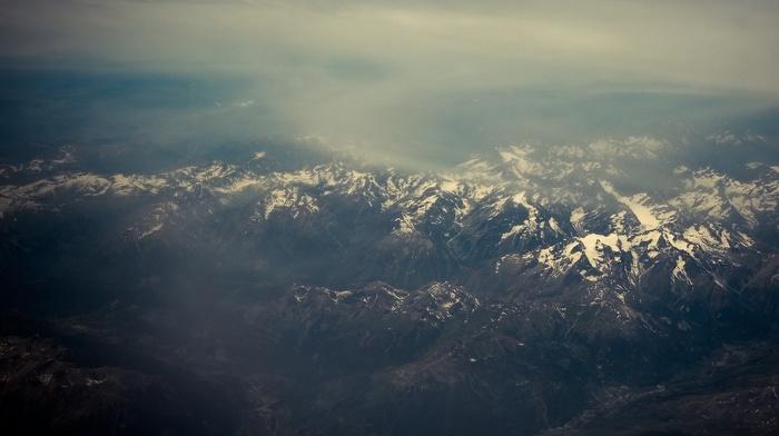 снег, туман, природа, горы