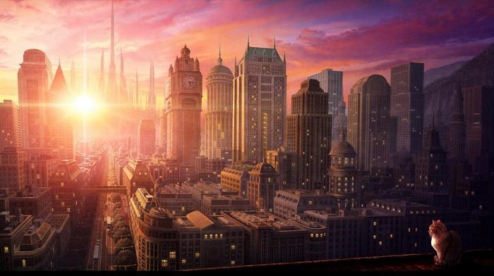 городской пейзаж, закат
