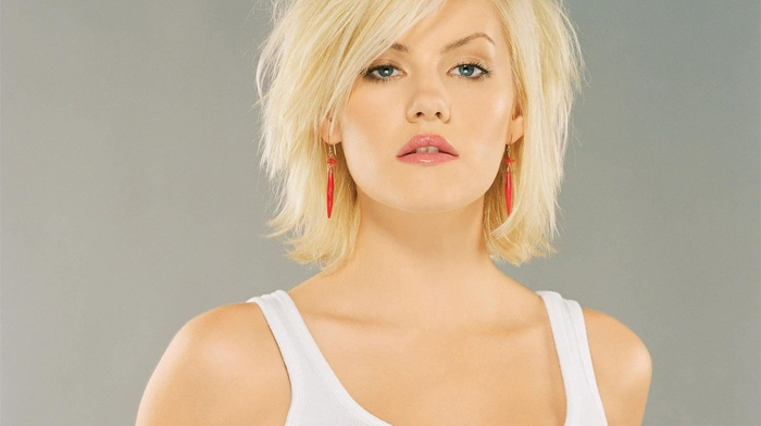 blonde, girl, Elisha Cuthbert, blue eyes, white tops, model