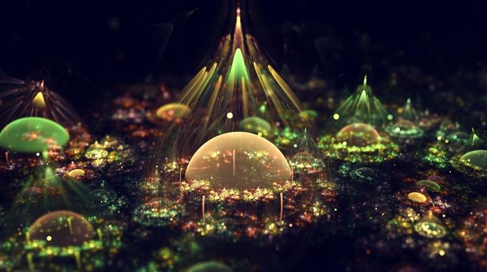 digital art, fantasy art, artwork, bubbles, lights, colorful