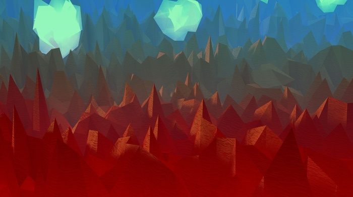 artwork, low poly, clouds, digital art, landscape, abstract, mountain