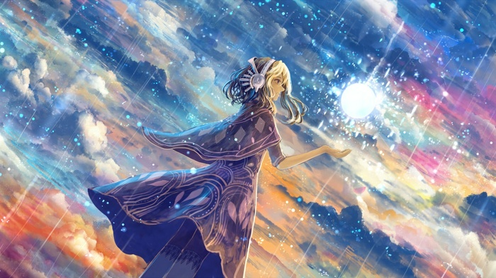 anime, stars, artwork, sky, clouds, fantasy art, magic