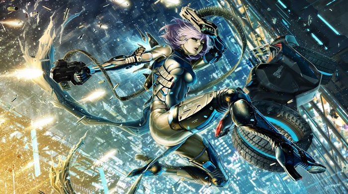 fantasy art, cyborg, city, artwork, anime, original characters, futuristic