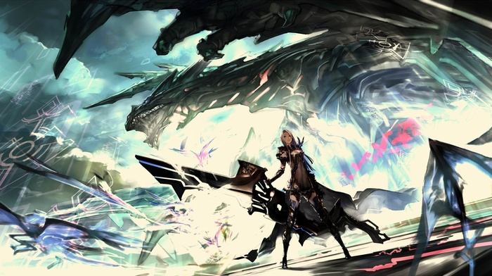 дракон, аниме, футуризм, произведение искусства, фантастическое исскуство, меч, воин