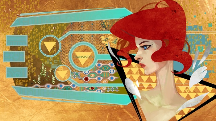 red, redhead, supergiant games, artwork, transistor, video games