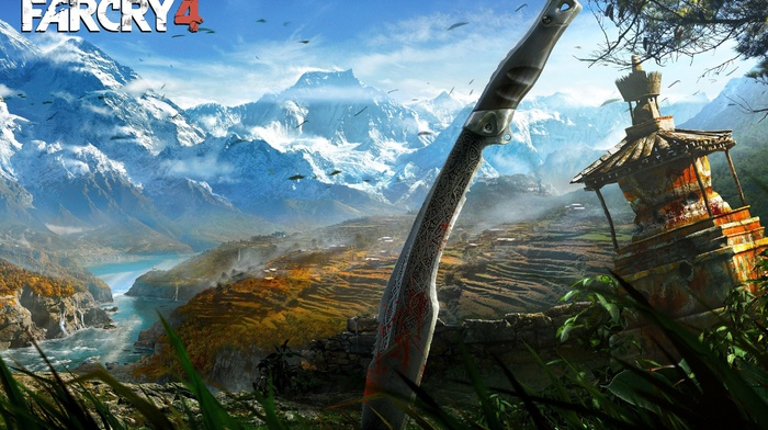Far Cry 4, landscape, Himalayas, video games, knife