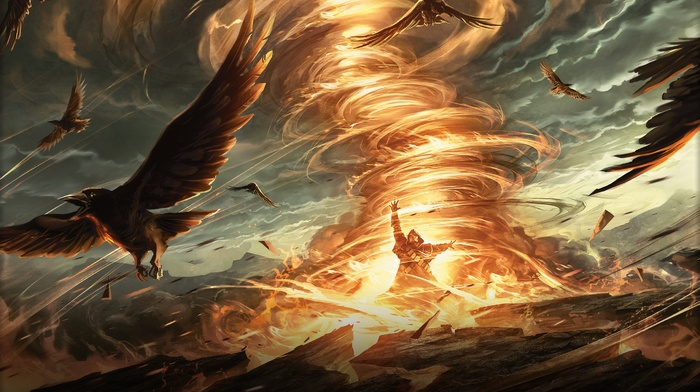 tornado, magic, birds, wizard, fire, magic the gathering