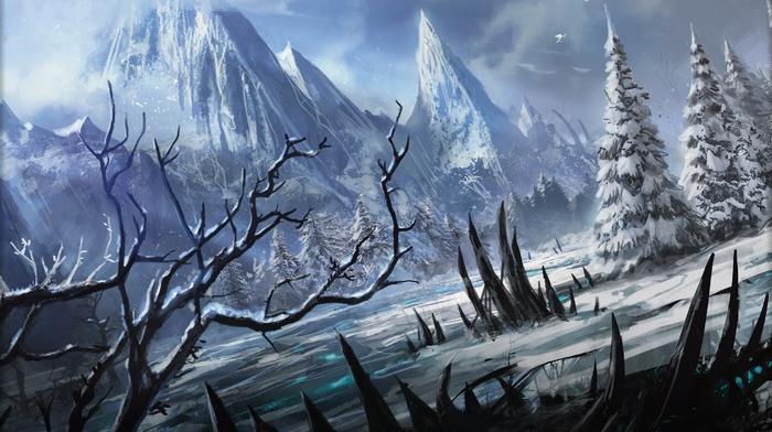 снег, горы, зима, магия, пейзаж