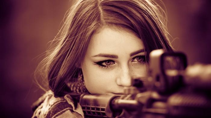 солдат, девушка, брюнетка