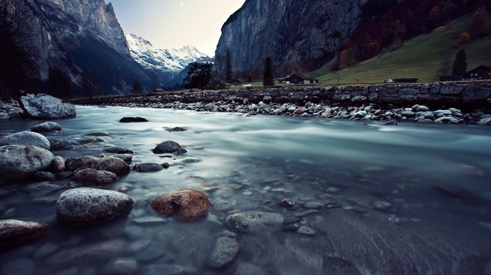 горы, скала, природа, река