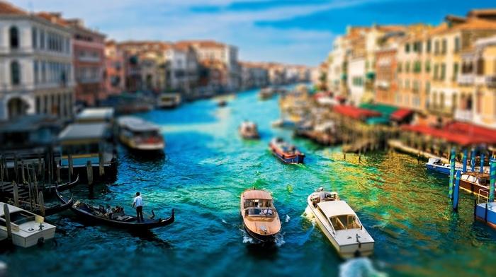 blurred, boat, Venice, cityscape, tilt shift, building
