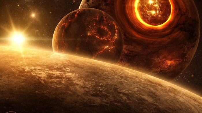 Sun, planet, QAuZ, digital art, space, space art