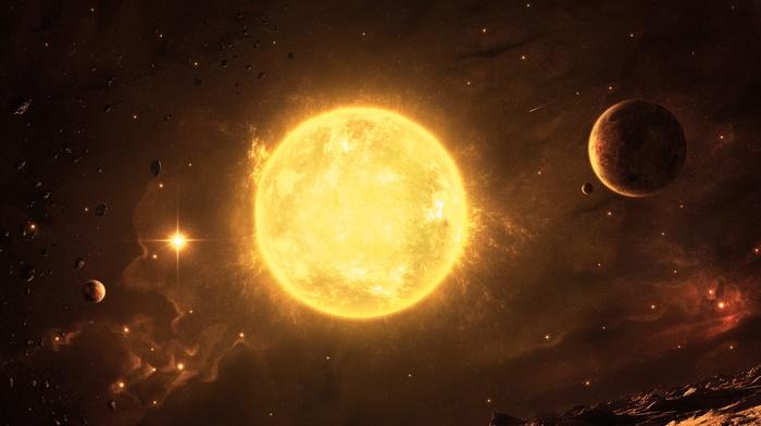 universe, space art, Sun