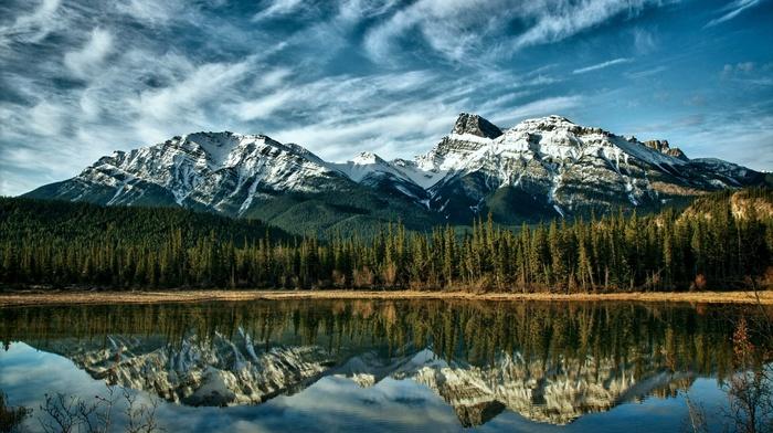 природа, деревья, отражение, Канада, горы