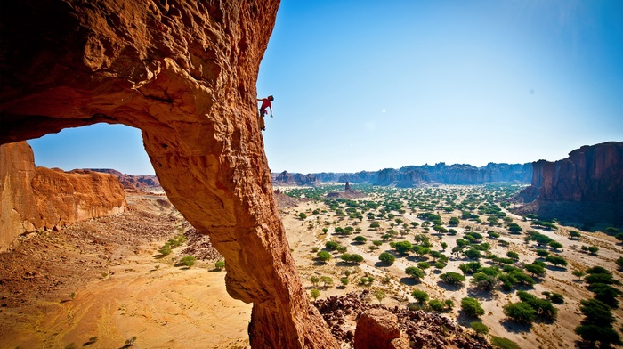 desert, rock formation, landscape, climbing, nature