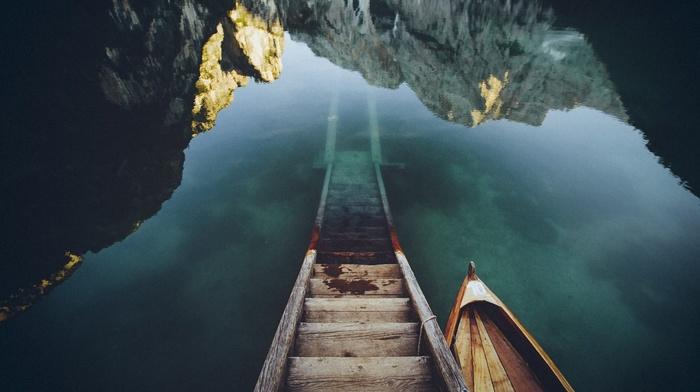 горы, пейзаж, лодка, природа, облака, озеро
