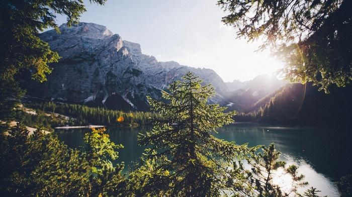 озеро, пейзаж, облака, природа, горы, лодка