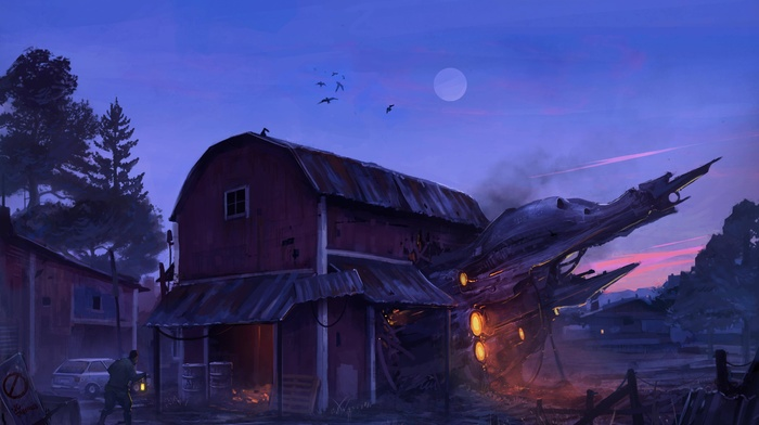 science fiction, moon, barns, spaceship, farm, digital art
