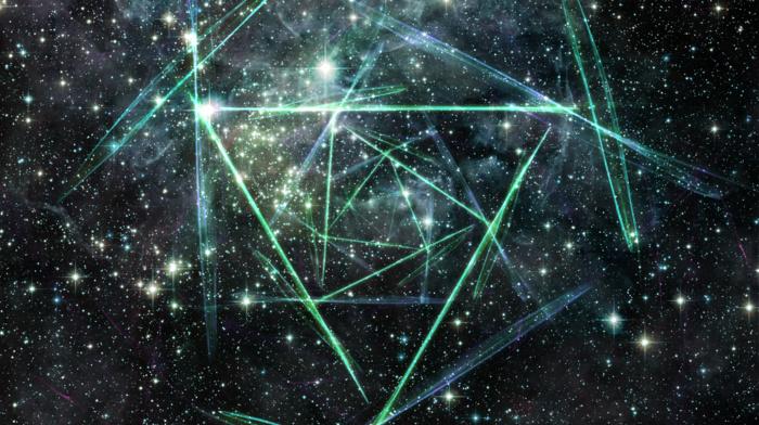 космос, звезды, треугольник, абстрактные