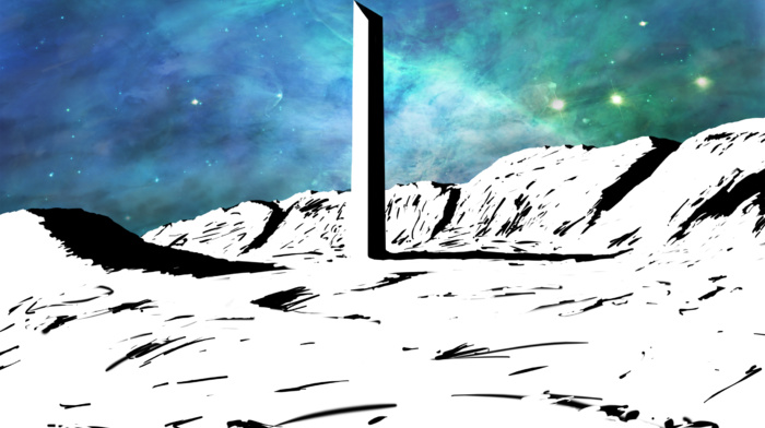 apocalyptic, drawing, Monolith, colorful, space, white, nebula, building