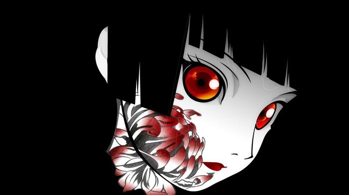 Jigoku Shoujo, face, flowers, dark hair, Enma Ai, red eyes, simple background, anime, anime girls