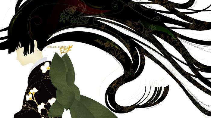 черные волосы, бабочка, длинные волосы, простой фон, кимоно, девушки из аниме, аниме, белый