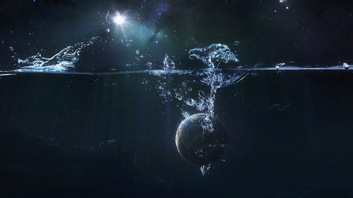 stars, space art, space, splashes, split view, planet