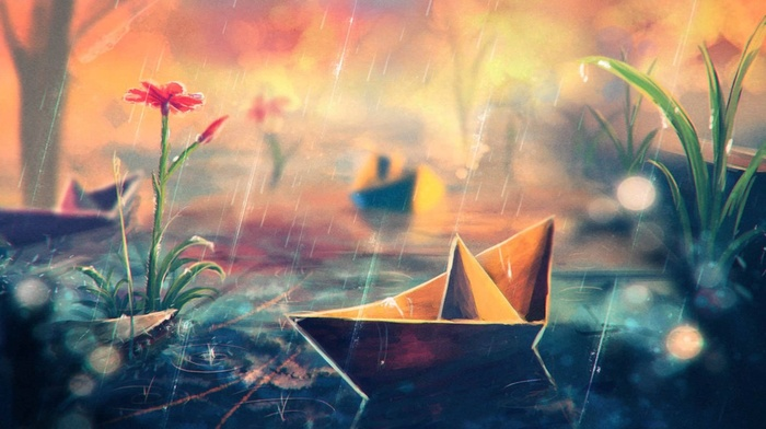 paper boats, water, flowers, Sylar, artwork