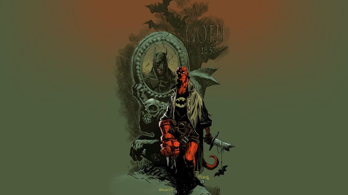 Batman, Hellboy, comic art