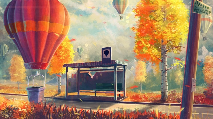 hot air balloons, artwork, Sylar, birch