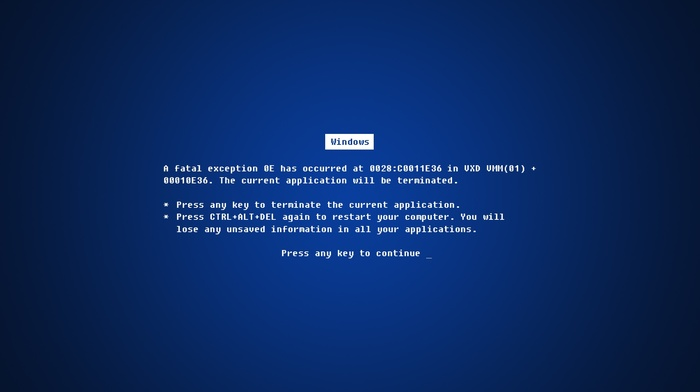 Microsoft Windows, blue screen of death, window, errors, Windows Errors, blue